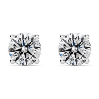 1 Carat Natural, Colorless Diamond Stud Earrings In 14 Karat White Gold.  These Diamond Are Not Enhanced In Any Way!