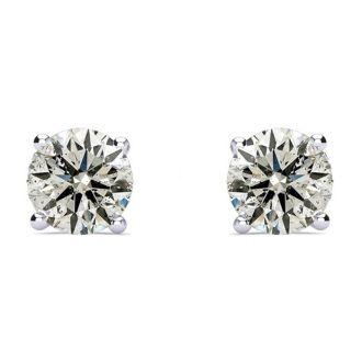 1 1/2 Carat Diamond Stud Earrings In 14 Karat White Gold. Genuine Natural Earth Mined Untreated Diamonds!