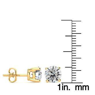 3 Carat Diamond Stud Earrings In 14 Karat Yellow Gold
