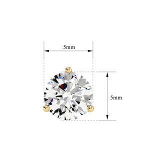 1 Carat Diamond Martini Stud Earrings In 14 Karat Yellow Gold