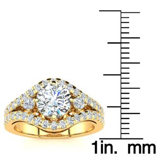 14K Yellow Gold 2 Carat Fancy Diamond Engagement Ring, With 1.25 Carat Center