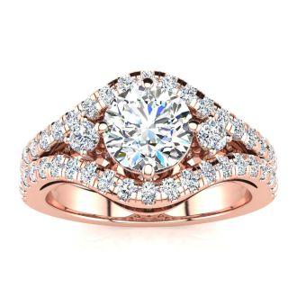 14K Rose Gold 2 Carat Fancy Diamond Engagement Ring, With 1.25 Carat Center