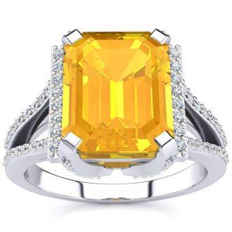 3 1/2 Carat Citrine and Halo Diamond Ring In 14 Karat White Gold
