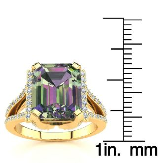 3 1/2 Carat Mystic Topaz and Halo Diamond Ring In 14 Karat Yellow Gold
