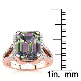 3 1/2 Carat Mystic Topaz and Halo Diamond Ring In 14 Karat Rose Gold