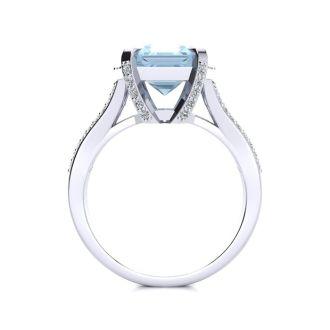 3 1/2 Carat Aquamarine and Halo Diamond Ring In 14 Karat White Gold