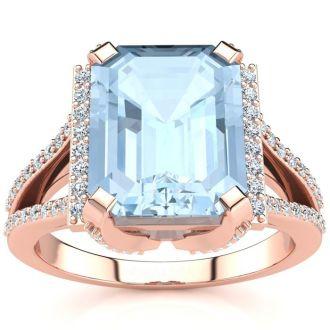 3 1/2 Carat Aquamarine and Halo Diamond Ring In 14 Karat Rose Gold