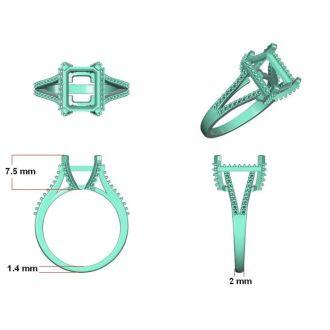 3 1/2 Carat Emerald and Halo Diamond Ring In 14 Karat Rose Gold