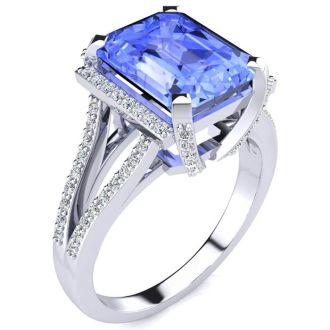 4 Carat Tanzanite and Halo Diamond Ring In 14 Karat White Gold
