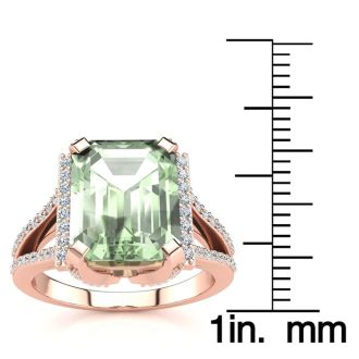 3 1/2 Carat Green Amethyst and Halo Diamond Ring In 14 Karat Rose Gold
