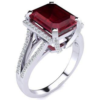 4 3/4 Carat Ruby and Halo Diamond Ring In 14 Karat White Gold