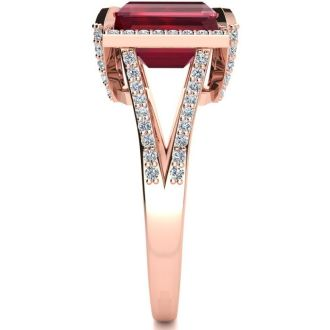 4 3/4 Carat Ruby and Halo Diamond Ring In 14 Karat Rose Gold