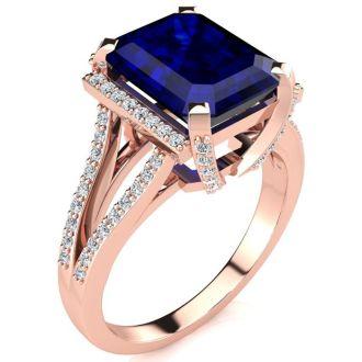 4 3/4 Carat Sapphire and Halo Diamond Ring In 14 Karat Rose Gold