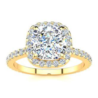2 1/2 Carat Cushion Cut Halo Diamond Engagement Ring in 14 Karat Yellow Gold