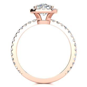 2 1/2 Carat Cushion Cut Halo Diamond Engagement Ring in 14 Karat Rose Gold