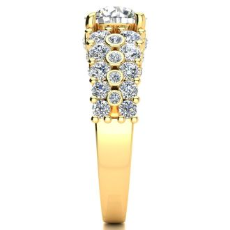 14K Yellow Gold 2 1/3 Carat Fancy Diamond Engagement Ring, With 1.25 Carat Center