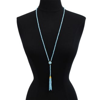 142 Carat Turquoise Tassel Necklace In 14K Yellow Gold Over Sterling Silver, 36 Inches