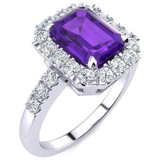 2 Carat Amethyst and Halo Diamond Ring In 14 Karat White Gold