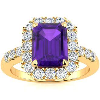 2 Carat Amethyst and Halo Diamond Ring In 14 Karat Yellow Gold