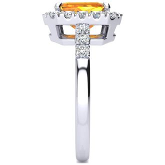 2 Carat Citrine and Halo Diamond Ring In 14 Karat White Gold
