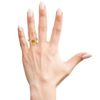 2 Carat Citrine and Halo Diamond Ring In 14 Karat Yellow Gold