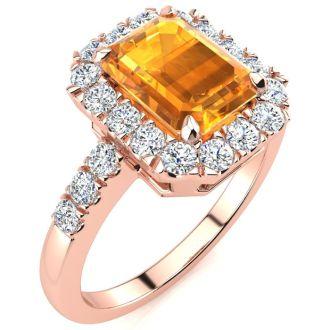 2 Carat Citrine and Halo Diamond Ring In 14 Karat Rose Gold