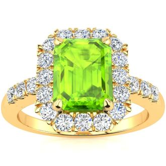 2 1/4 Carat Peridot and Halo Diamond Ring In 14 Karat Yellow Gold