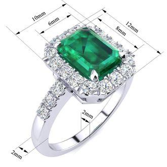 2 Carat Emerald and Halo Diamond Ring In 14 Karat White Gold