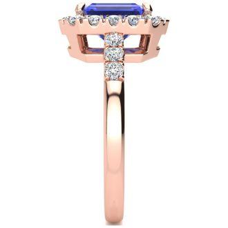 2 1/4 Carat Tanzanite and Halo Diamond Ring In 14 Karat Rose Gold