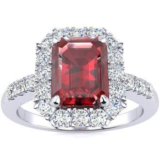 2 1/2 Carat Garnet and Halo Diamond Ring In 14 Karat White Gold