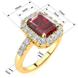 2 1/2 Carat Garnet and Halo Diamond Ring In 14 Karat Yellow Gold