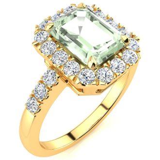 2 Carat Green Amethyst and Halo Diamond Ring In 14 Karat Yellow Gold
