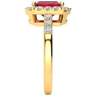 2 3/4 Carat Ruby and Halo Diamond Ring In 14 Karat Yellow Gold