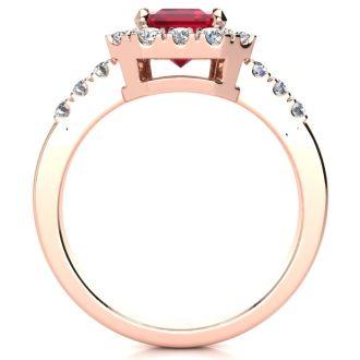 2 3/4 Carat Ruby and Halo Diamond Ring In 14 Karat Rose Gold