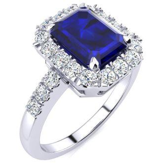 2 3/4 Carat Sapphire and Halo Diamond Ring In 14 Karat White Gold
