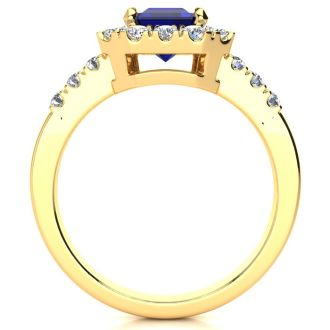 2 3/4 Carat Sapphire and Halo Diamond Ring In 14 Karat Yellow Gold