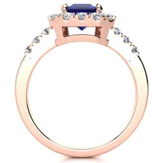 2 3/4 Carat Sapphire and Halo Diamond Ring In 14 Karat Rose Gold