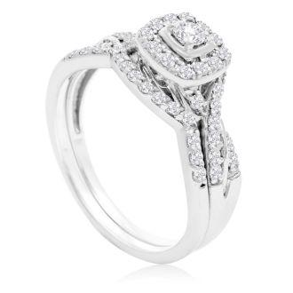 1/2 Carat Halo Diamond Bridal Set in 14 Karat White Gold