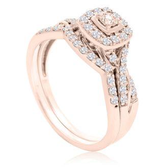 1/2 Carat Halo Diamond Bridal Set in 14k Rose Gold