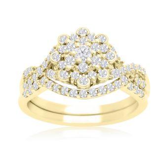 3/4 Carat Floral Halo Diamond Bridal Set in 14 Karat Yellow Gold