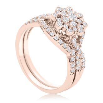 3/4 Carat Floral Halo Diamond Bridal Set in 14 Karat Rose Gold