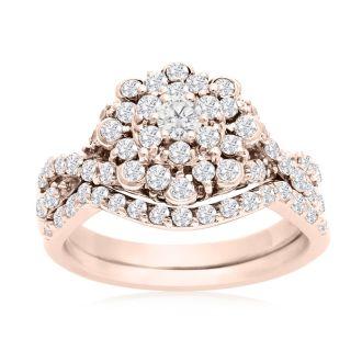 1 Carat Floral Halo Diamond Bridal Set in 14k Rose Gold