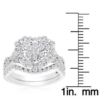 1 Carat Heart Halo Diamond Bridal Set in 14 Karat White Gold