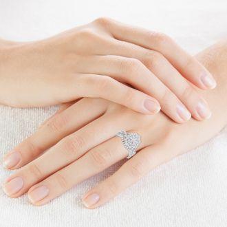 1 Carat Oval Halo Diamond Bridal Set in 14 Karat White Gold