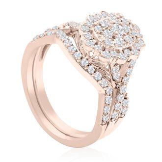 1 Carat Oval Halo Diamond Bridal Set in 14 Karat Rose Gold