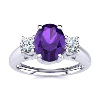 1 Carat Oval Shape Amethyst and Two Diamond Ring In 14 Karat White Gold