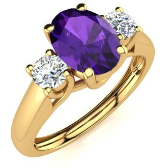 1 Carat Oval Shape Amethyst and Two Diamond Ring In 14 Karat Yellow Gold