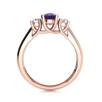 1 Carat Oval Shape Amethyst and Two Diamond Ring In 14 Karat Rose Gold