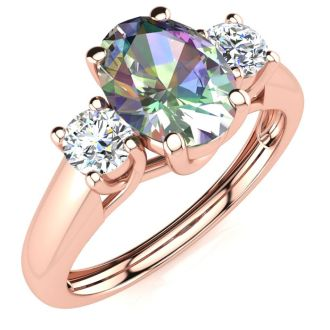 1 1/5 Carat Oval Shape Mystic Topaz and Two Diamond Ring In 14 Karat Rose Gold