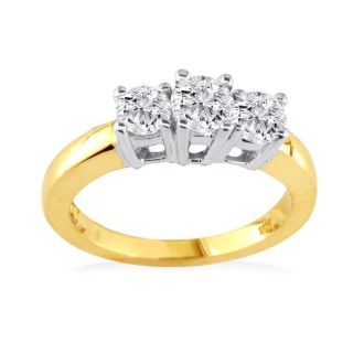 1/4ct Engagement Three Engagement Ring In 10k Two Tone Gold